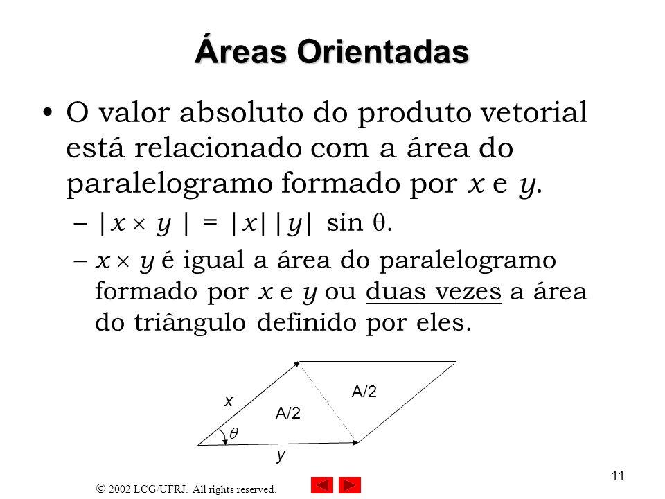 2002 LCG/UFRJ. All rights reserved. 11 Áreas Orientadas O valor absoluto do produto vetorial está relacionado com a área do paralelogramo formado por