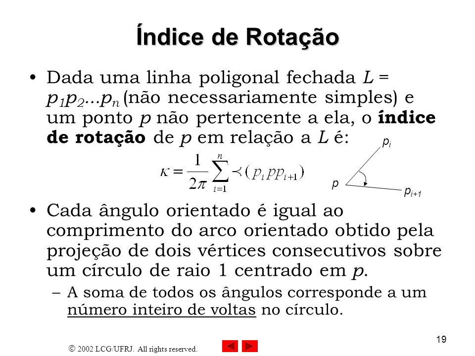 2002 LCG/UFRJ. All rights reserved. 19 Índice de Rotação Dada uma linha poligonal fechada L = p 1 p 2...p n (não necessariamente simples) e um ponto p
