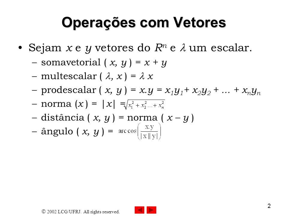 2002 LCG/UFRJ. All rights reserved. 2 Operações com Vetores Sejam x e y vetores do R n e um escalar. –somavetorial ( x, y ) = x + y –multescalar (, x