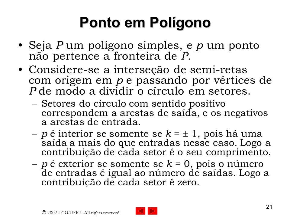 2002 LCG/UFRJ. All rights reserved. 21 Ponto em Polígono Seja P um polígono simples, e p um ponto não pertence a fronteira de P. Considere-se a inters