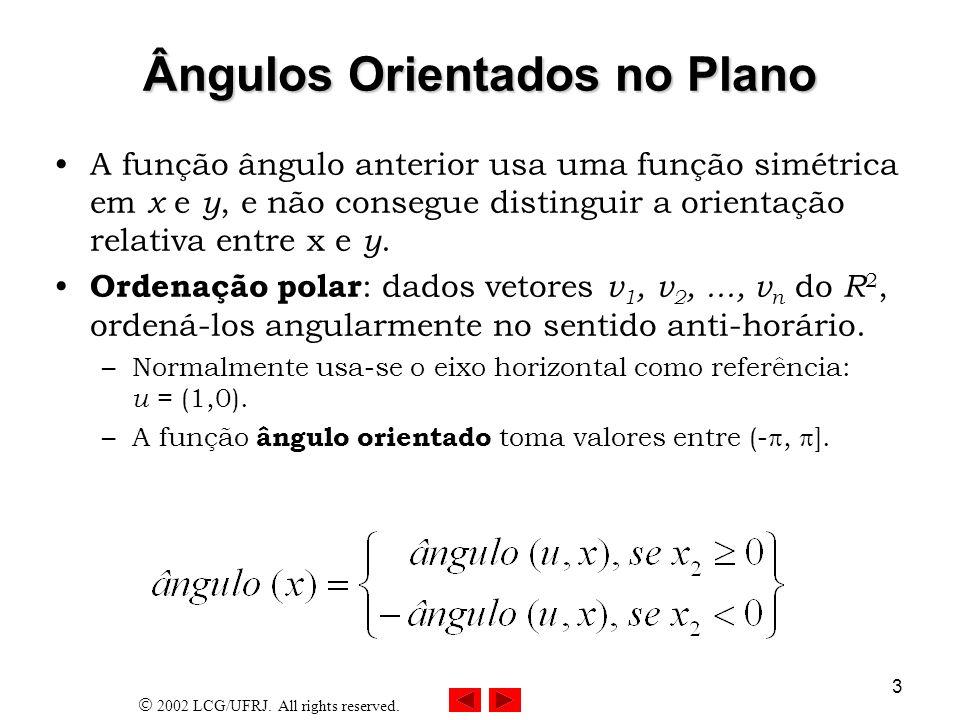 2002 LCG/UFRJ. All rights reserved. 3 Ângulos Orientados no Plano A função ângulo anterior usa uma função simétrica em x e y, e não consegue distingui
