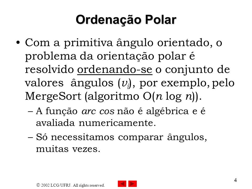 2002 LCG/UFRJ. All rights reserved. 4 Ordenação Polar Com a primitiva ângulo orientado, o problema da orientação polar é resolvido ordenando-se o conj