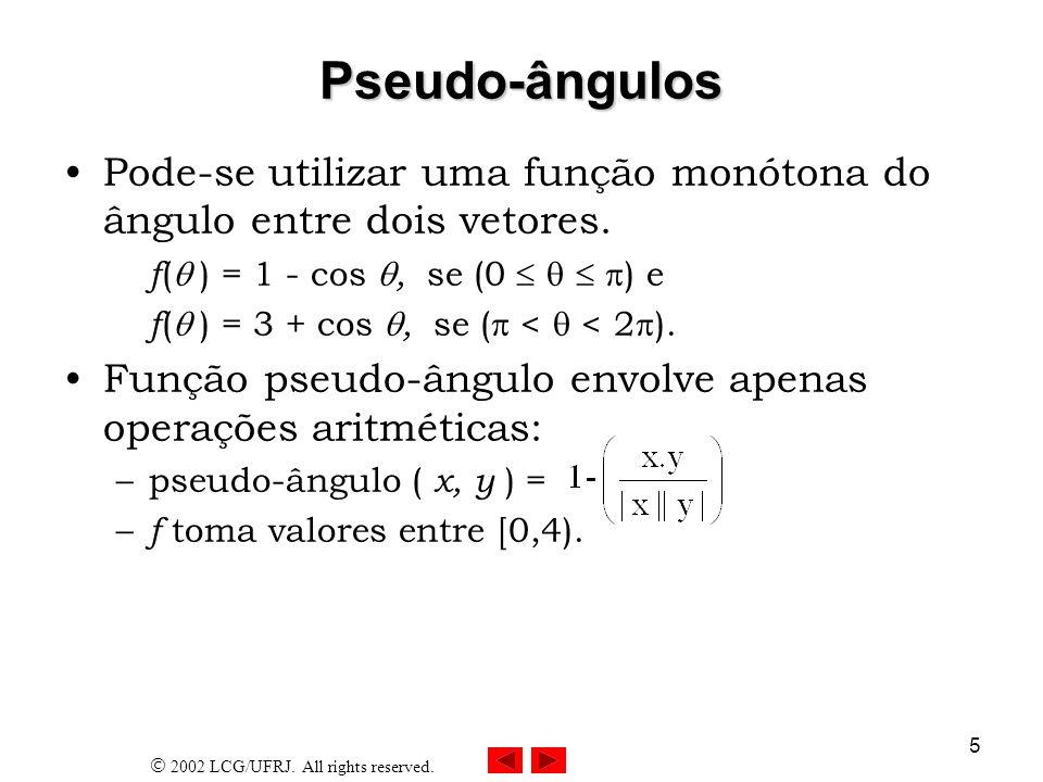 2002 LCG/UFRJ. All rights reserved. 5 Pseudo-ângulos Pode-se utilizar uma função monótona do ângulo entre dois vetores. f ( ) = 1 - cos, se (0 ) e f (