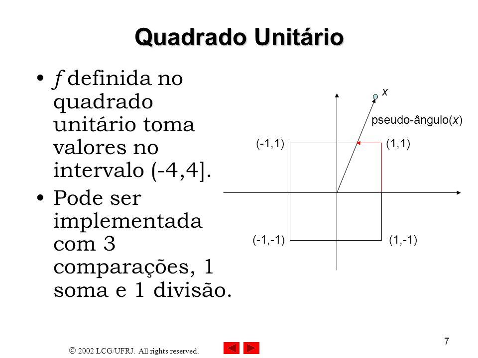 2002 LCG/UFRJ. All rights reserved. 7 Quadrado Unitário f definida no quadrado unitário toma valores no intervalo (-4,4]. Pode ser implementada com 3