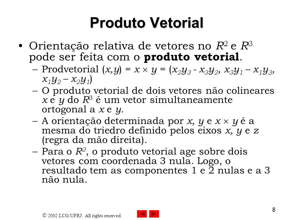 2002 LCG/UFRJ. All rights reserved. 8 Produto Vetorial Orientação relativa de vetores no R 2 e R 3 pode ser feita com o produto vetorial. –Prodvetoria