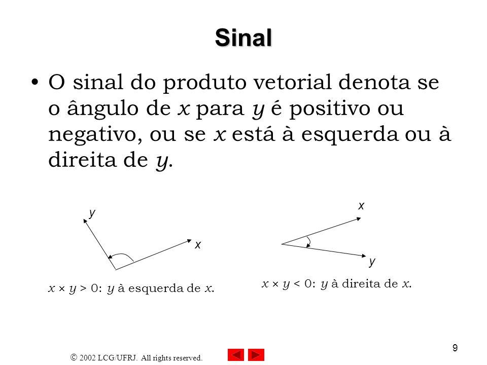 2002 LCG/UFRJ. All rights reserved. 9 Sinal O sinal do produto vetorial denota se o ângulo de x para y é positivo ou negativo, ou se x está à esquerda