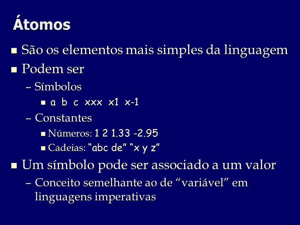 Átomos São os elementos mais simples da linguagem São os elementos mais simples da linguagem Podem ser Podem ser –Símbolos a b c xxx x1 x-1 a b c xxx