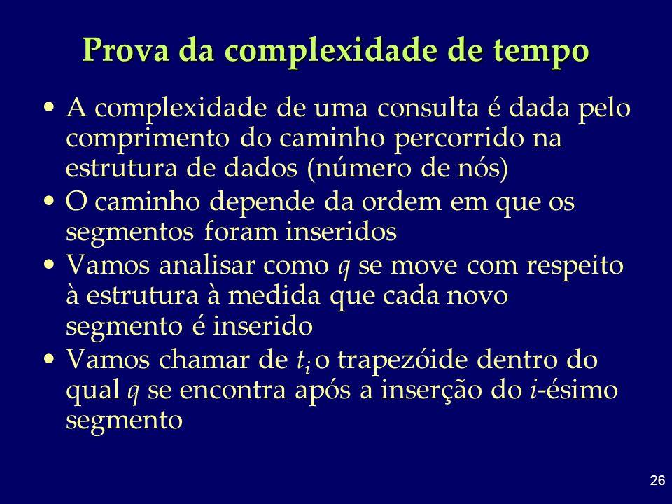 26 Prova da complexidade de tempo A complexidade de uma consulta é dada pelo comprimento do caminho percorrido na estrutura de dados (número de nós) O