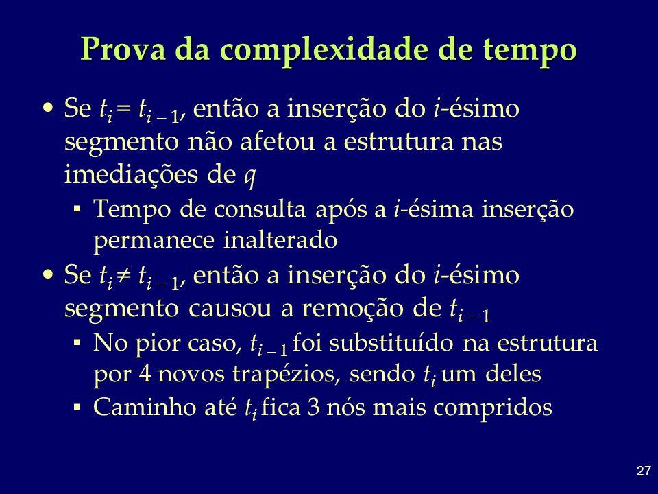 27 Prova da complexidade de tempo Se t i = t i – 1, então a inserção do i-ésimo segmento não afetou a estrutura nas imediações de q Tempo de consulta