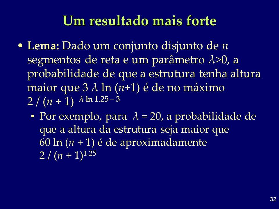 32 Um resultado mais forte Lema: Dado um conjunto disjunto de n segmentos de reta e um parâmetro λ>0, a probabilidade de que a estrutura tenha altura