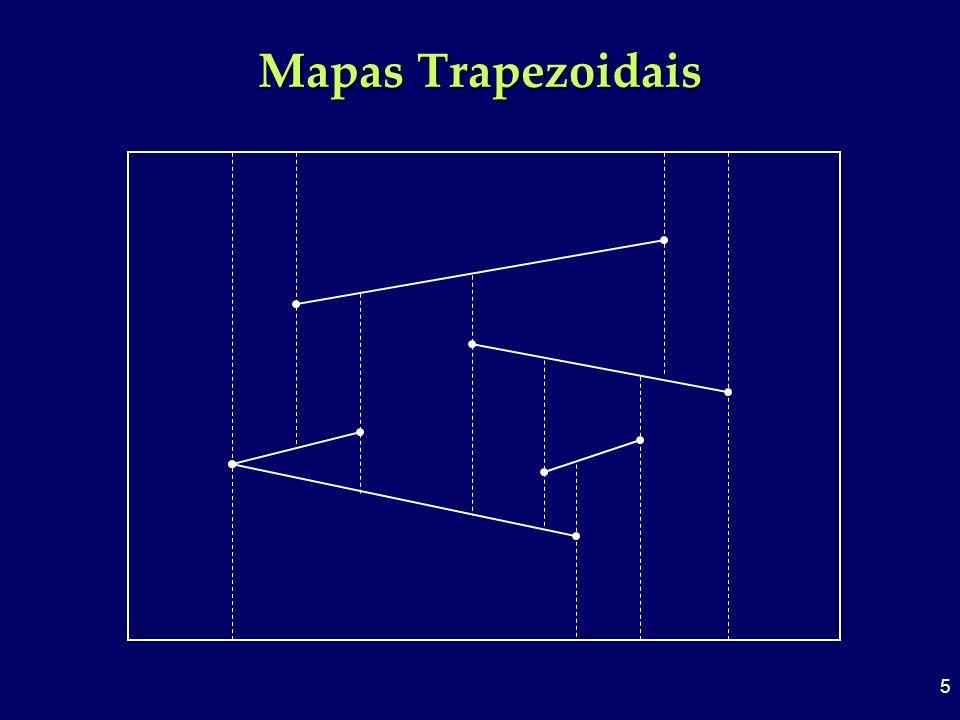 6 Conversão de mapas poligonais Cada extremidade dispara 2 balas que irão atingir outros segmentos criando 2 novos vértices Cada vértice do mapa poligonal gera 3 vértice no mapa trapezoidal Se temos n segmentos de reta, o mapa trapezoidal terá no máximo 6n + 4 vértices (contando os 4 vértices do retângulo envolvente)