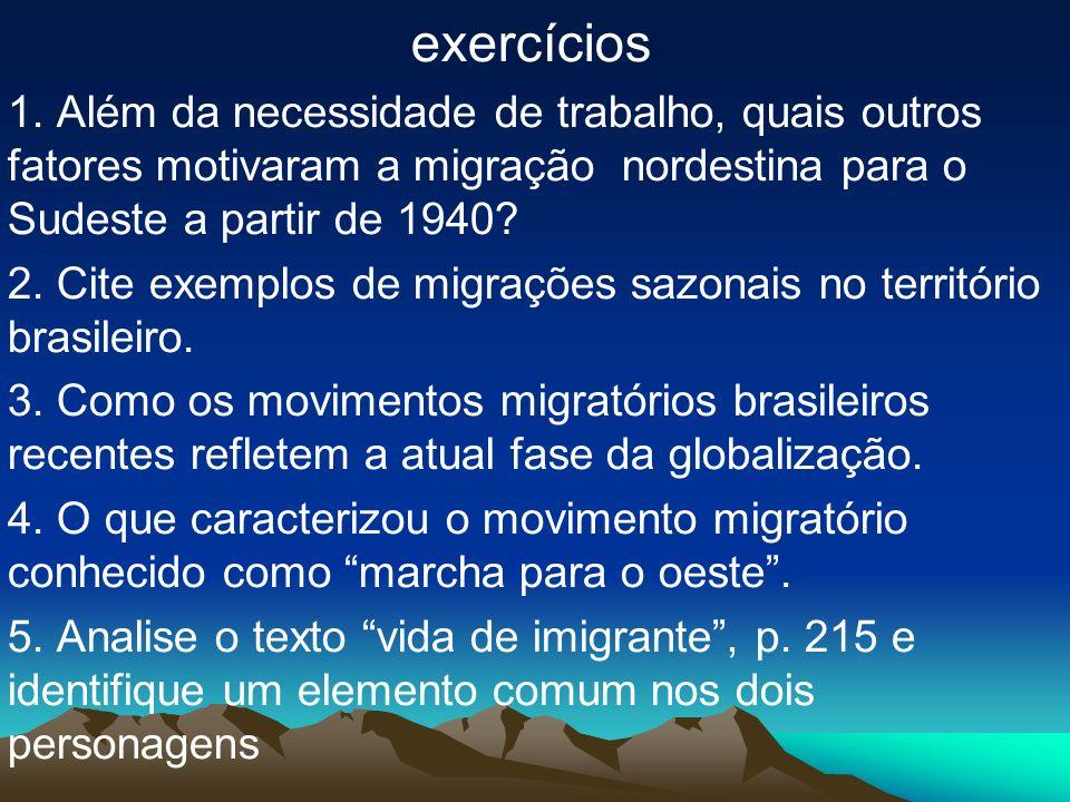 exercícios 1. Além da necessidade de trabalho, quais outros fatores motivaram a migração nordestina para o Sudeste a partir de 1940? 2. Cite exemplos
