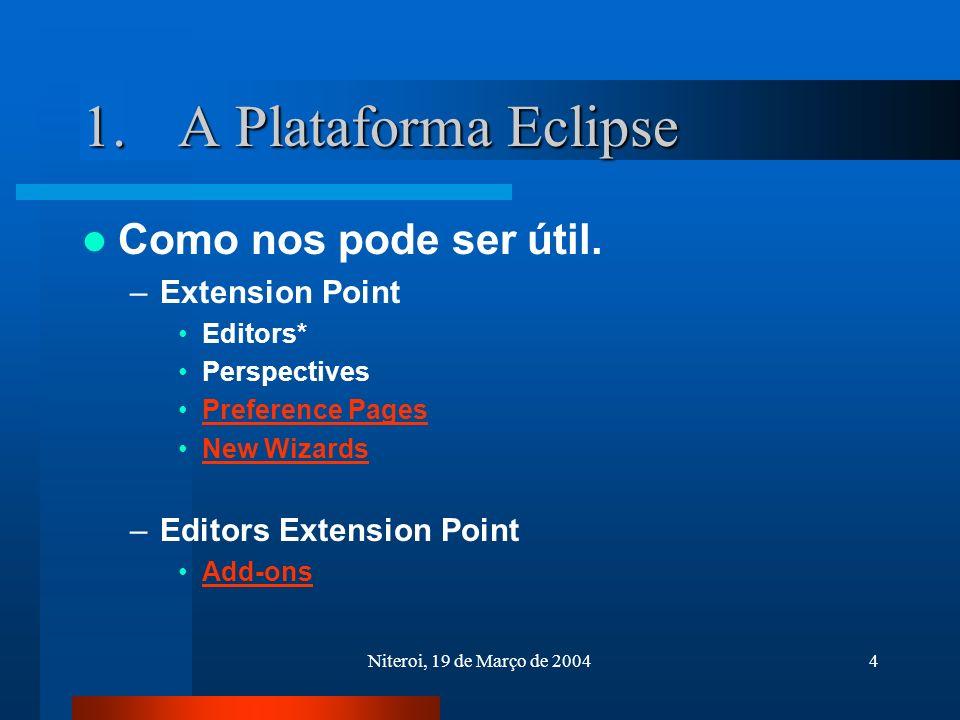 Niteroi, 19 de Março de 20044 1.A Plataforma Eclipse Como nos pode ser útil.
