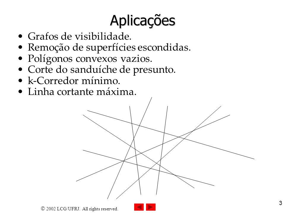 2002 LCG/UFRJ. All rights reserved. 3 Aplicações Grafos de visibilidade. Remoção de superfícies escondidas. Polígonos convexos vazios. Corte do sanduí