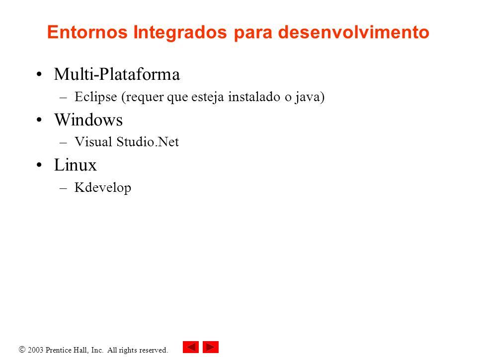 2003 Prentice Hall, Inc.All rights reserved. Editores de Código Linux –Kate –SciTE –Anjuta, etc.
