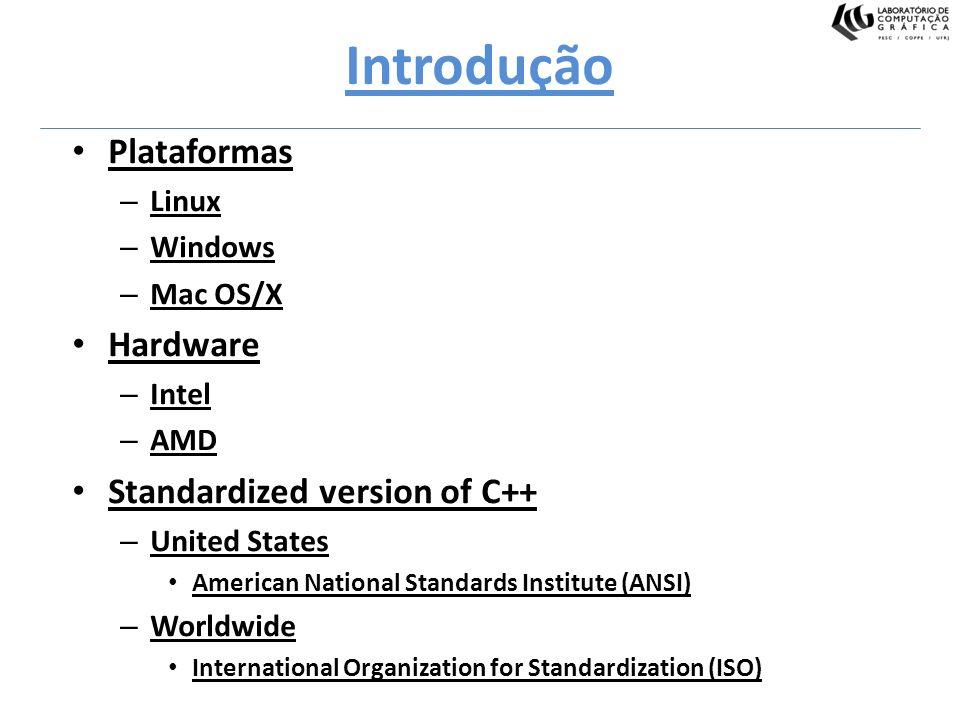 Introdução Plataformas – Linux – Windows – Mac OS/X Hardware – Intel – AMD Standardized version of C++ – United States American National Standards Ins