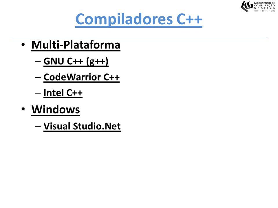 Compiladores C++ Multi-Plataforma – GNU C++ (g++) – CodeWarrior C++ – Intel C++ Windows – Visual Studio.Net