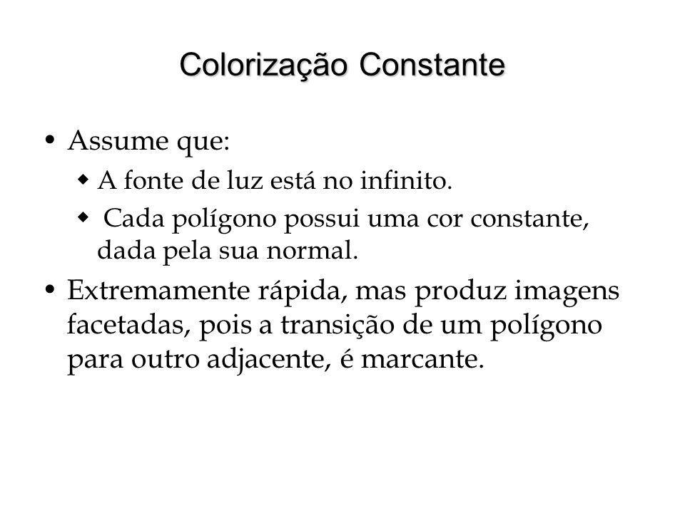 Colorização Constante Assume que: A fonte de luz está no infinito. Cada polígono possui uma cor constante, dada pela sua normal. Extremamente rápida,