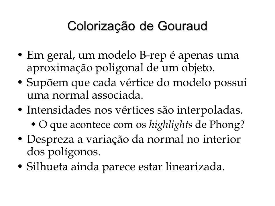 Colorização de Gouraud Em geral, um modelo B-rep é apenas uma aproximação poligonal de um objeto. Supõem que cada vértice do modelo possui uma normal