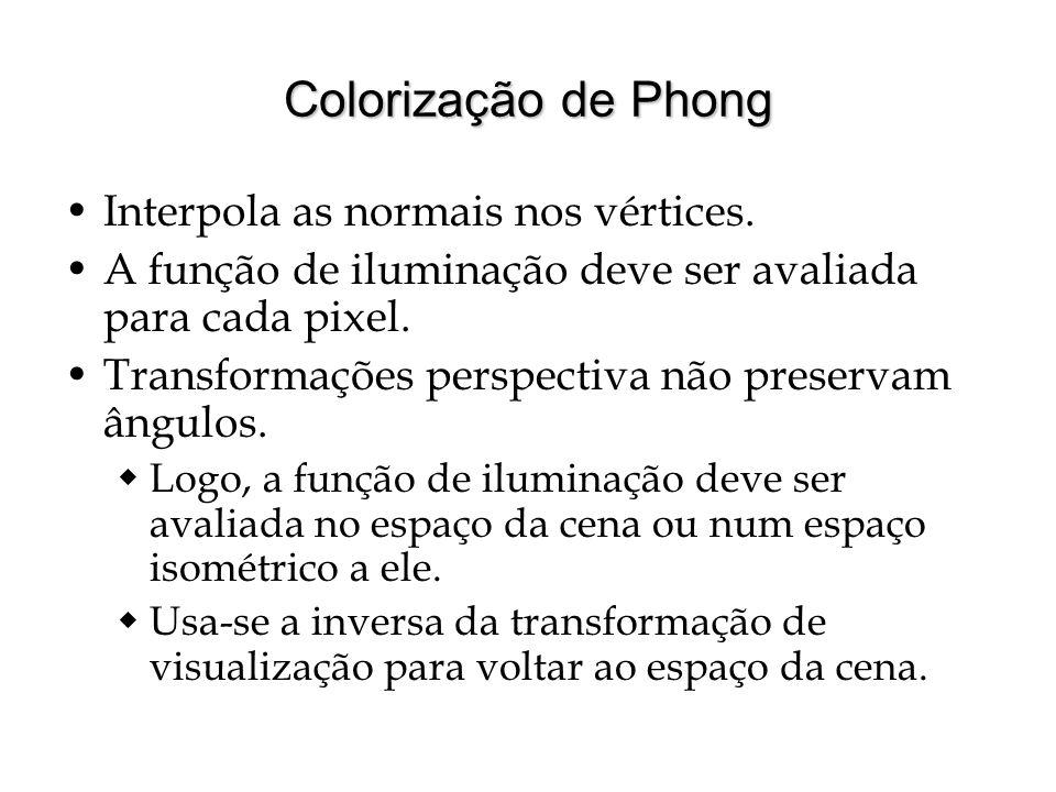 Colorização de Phong Interpola as normais nos vértices. A função de iluminação deve ser avaliada para cada pixel. Transformações perspectiva não prese
