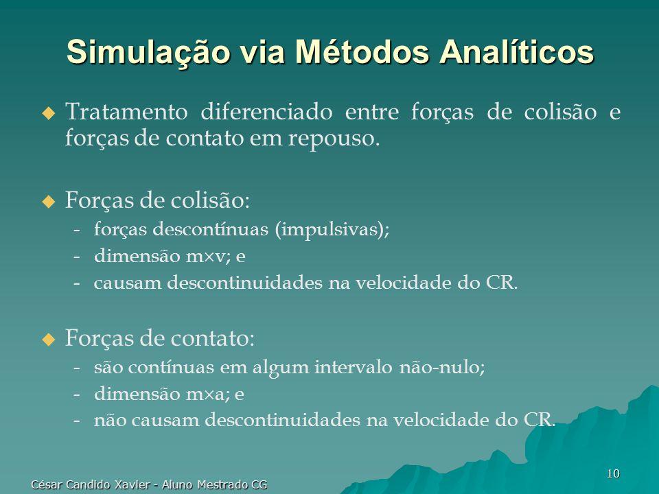 César Candido Xavier - Aluno Mestrado CG 10 Simulação via Métodos Analíticos Tratamento diferenciado entre forças de colisão e forças de contato em re