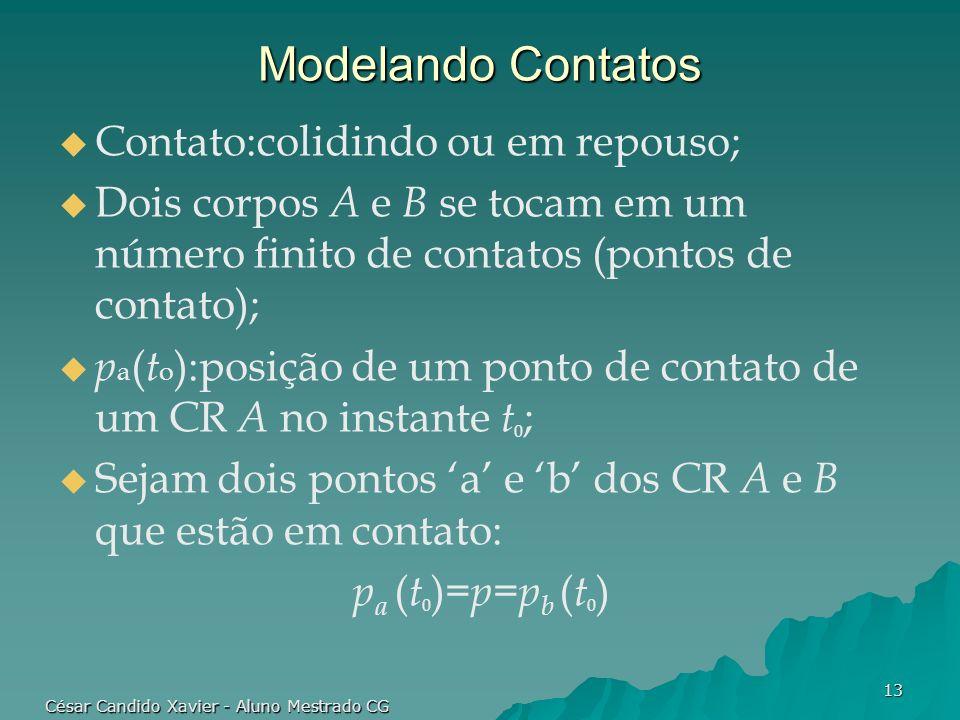 César Candido Xavier - Aluno Mestrado CG 13 Modelando Contatos Contato:colidindo ou em repouso; Dois corpos A e B se tocam em um número finito de cont