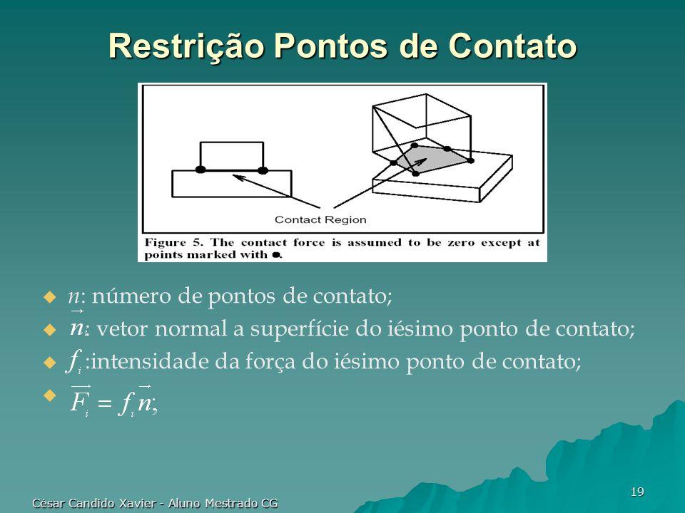 César Candido Xavier - Aluno Mestrado CG 19 Restrição Pontos de Contato n : número de pontos de contato; : vetor normal a superfície do iésimo ponto d