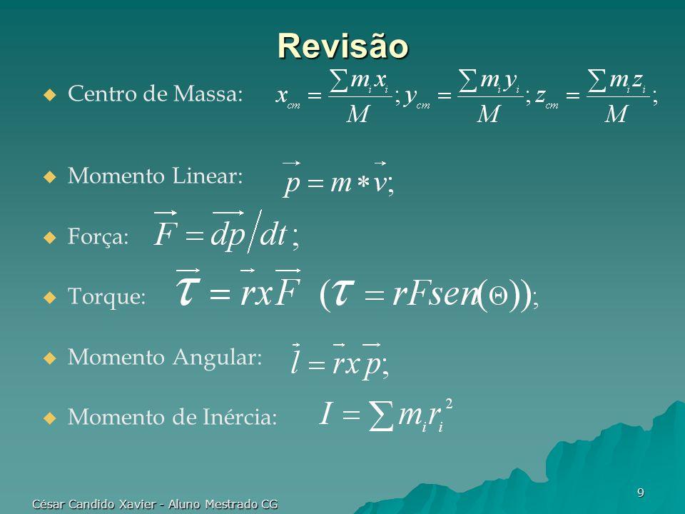 César Candido Xavier - Aluno Mestrado CG 10 Simulação via Métodos Analíticos Tratamento diferenciado entre forças de colisão e forças de contato em repouso.