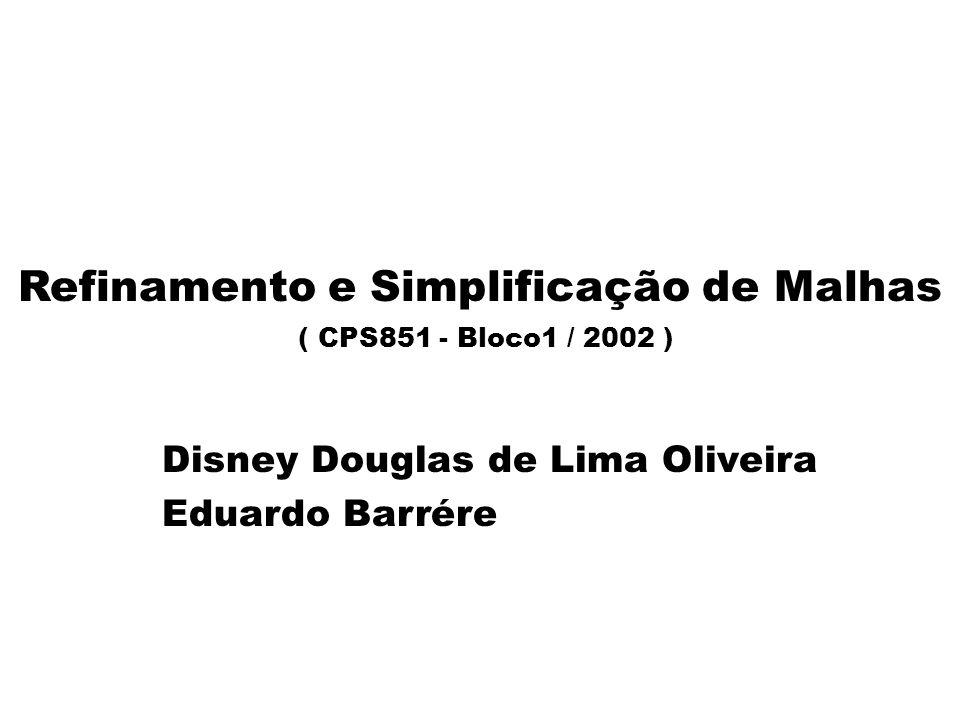 Refinamento e Simplificação de Malhas (CPS851 - Bloco1/2002) Disney - Barrére Índice zConceitos Básicos envolvidos zSimplificação de Malhas zMétodo de Simplificação Memoryless zMétodo de Otimização de Malhas zComparação entre os métodos zConclusão