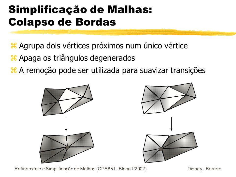 Refinamento e Simplificação de Malhas (CPS851 - Bloco1/2002) Disney - Barrére Simplificação de Malhas: Colapso de Bordas zAgrupa dois vértices próximo