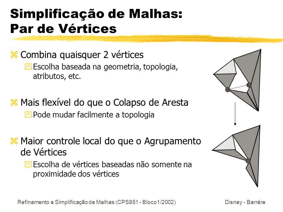 Refinamento e Simplificação de Malhas (CPS851 - Bloco1/2002) Disney - Barrére Simplificação de Malhas: Par de Vértices zCombina quaisquer 2 vértices y