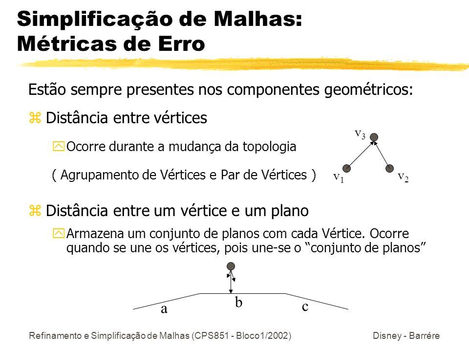 Refinamento e Simplificação de Malhas (CPS851 - Bloco1/2002) Disney - Barrére Simplificação de Malhas: Métricas de Erro Estão sempre presentes nos com