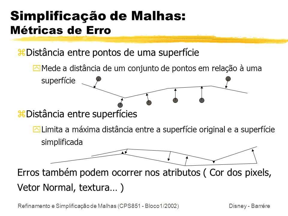 Refinamento e Simplificação de Malhas (CPS851 - Bloco1/2002) Disney - Barrére Simplificação de Malhas: Métricas de Erro zDistância entre pontos de uma