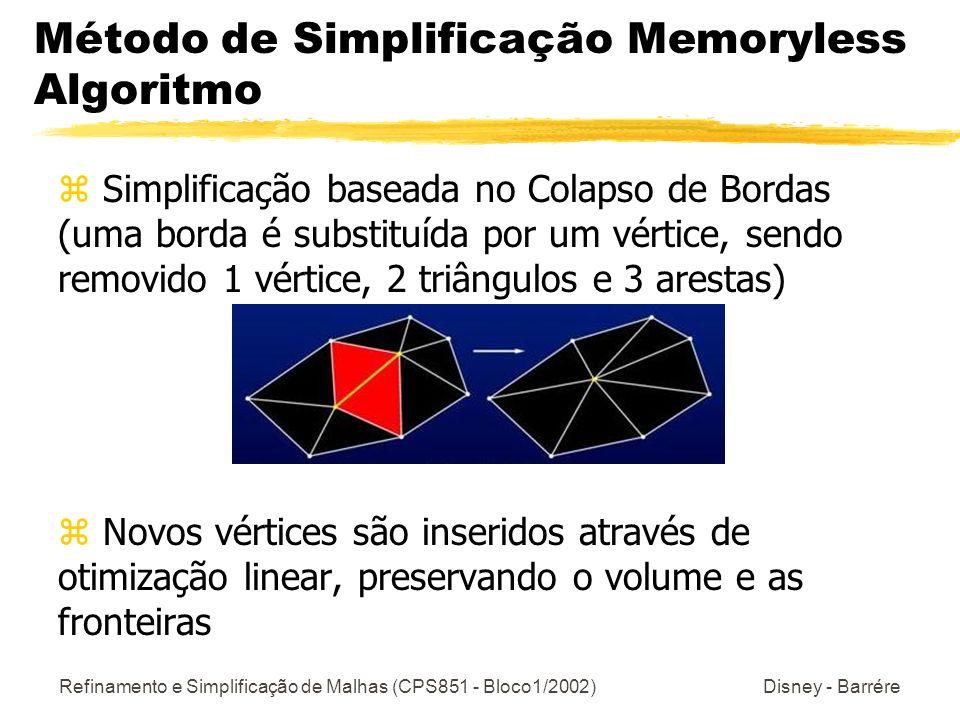 Refinamento e Simplificação de Malhas (CPS851 - Bloco1/2002) Disney - Barrére Método de Simplificação Memoryless Algoritmo z Simplificação baseada no