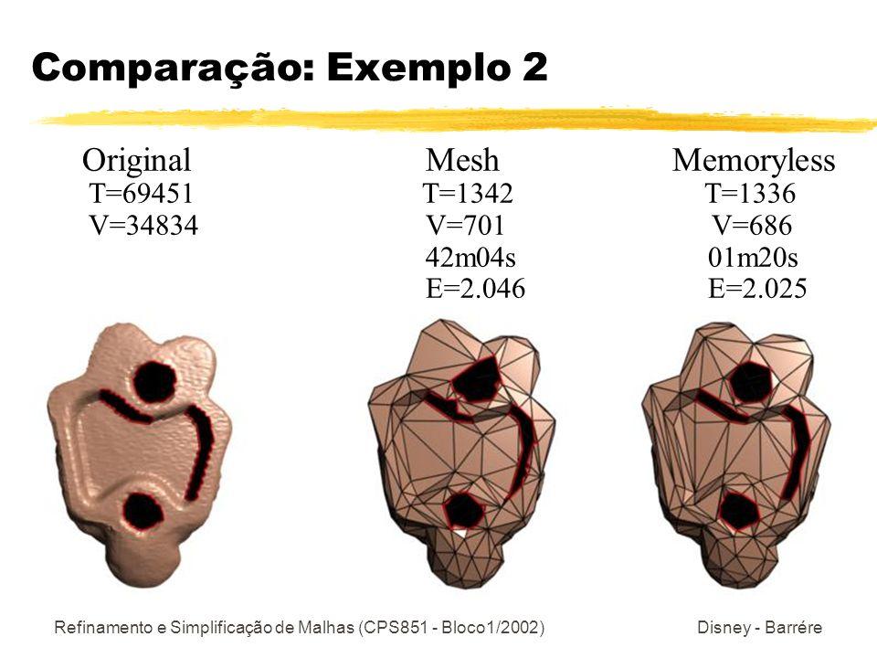 Refinamento e Simplificação de Malhas (CPS851 - Bloco1/2002) Disney - Barrére Comparação: Exemplo 2 Original Mesh Memoryless T=69451 T=1342 T=1336 V=34834 V=701 V=686 42m04s 01m20s E=2.046 E=2.025