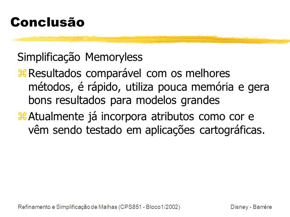 Refinamento e Simplificação de Malhas (CPS851 - Bloco1/2002) Disney - Barrére Conclusão Simplificação Memoryless zResultados comparável com os melhore