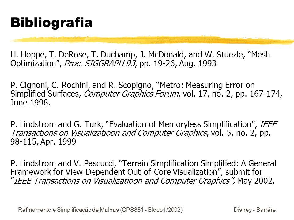 Refinamento e Simplificação de Malhas (CPS851 - Bloco1/2002) Disney - Barrére Bibliografia H. Hoppe, T. DeRose, T. Duchamp, J. McDonald, and W. Stuezl