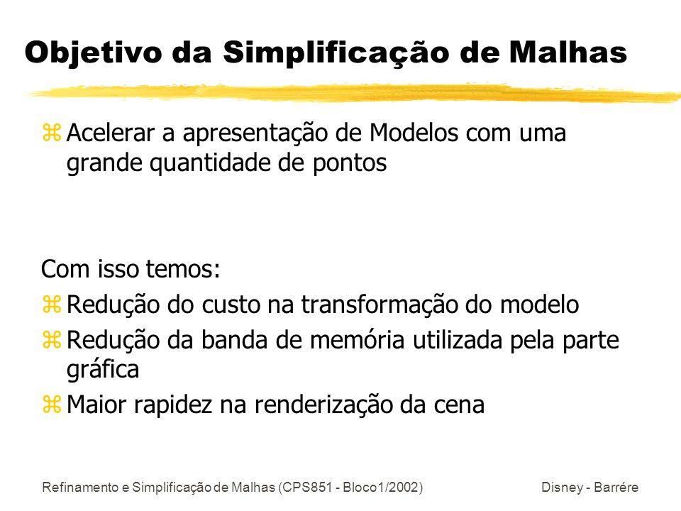 Refinamento e Simplificação de Malhas (CPS851 - Bloco1/2002) Disney - Barrére Objetivo da Simplificação de Malhas zAcelerar a apresentação de Modelos com uma grande quantidade de pontos Com isso temos: zRedução do custo na transformação do modelo zRedução da banda de memória utilizada pela parte gráfica zMaior rapidez na renderização da cena