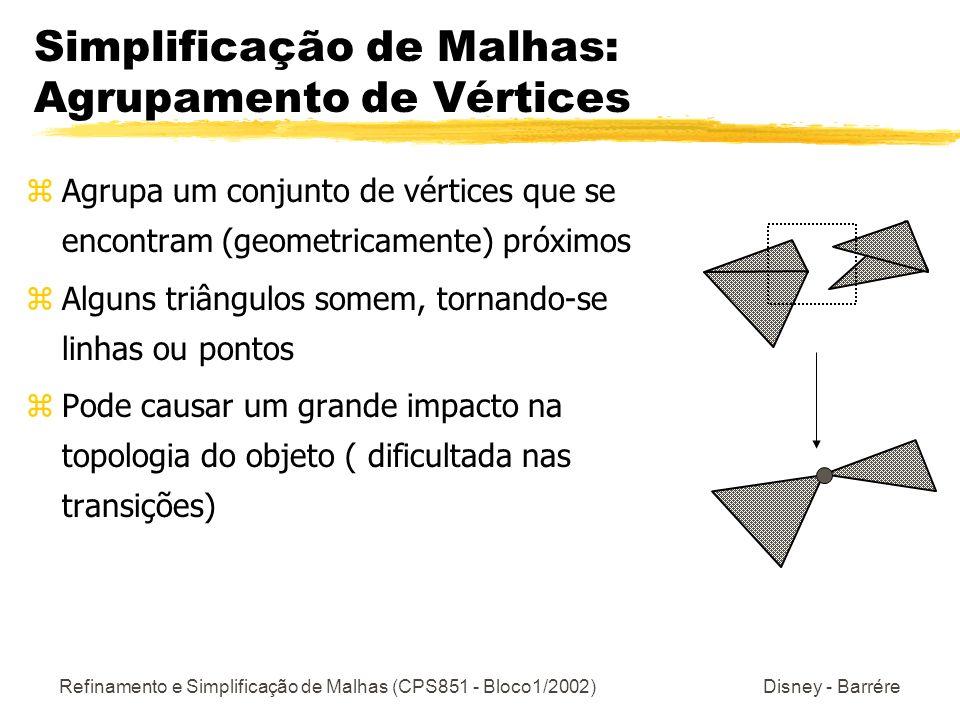 Refinamento e Simplificação de Malhas (CPS851 - Bloco1/2002) Disney - Barrére Simplificação de Malhas: Agrupamento de Vértices zAgrupa um conjunto de vértices que se encontram (geometricamente) próximos zAlguns triângulos somem, tornando-se linhas ou pontos zPode causar um grande impacto na topologia do objeto ( dificultada nas transições)