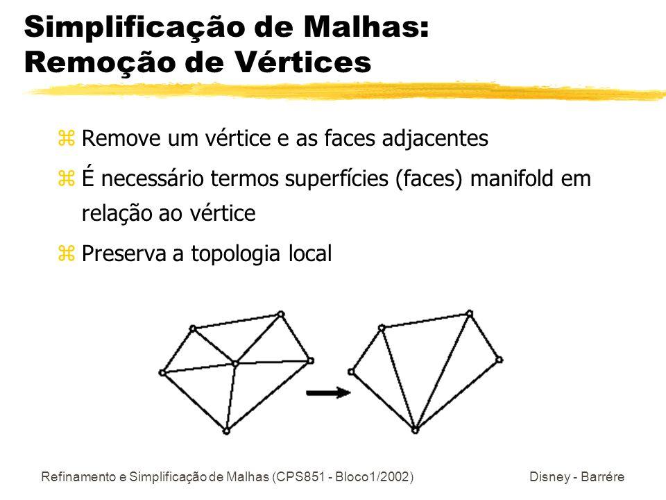 Refinamento e Simplificação de Malhas (CPS851 - Bloco1/2002) Disney - Barrére Método de Simplificação Memoryless Algoritmo z Simplificação baseada no Colapso de Bordas (uma borda é substituída por um vértice, sendo removido 1 vértice, 2 triângulos e 3 arestas) z Novos vértices são inseridos através de otimização linear, preservando o volume e as fronteiras