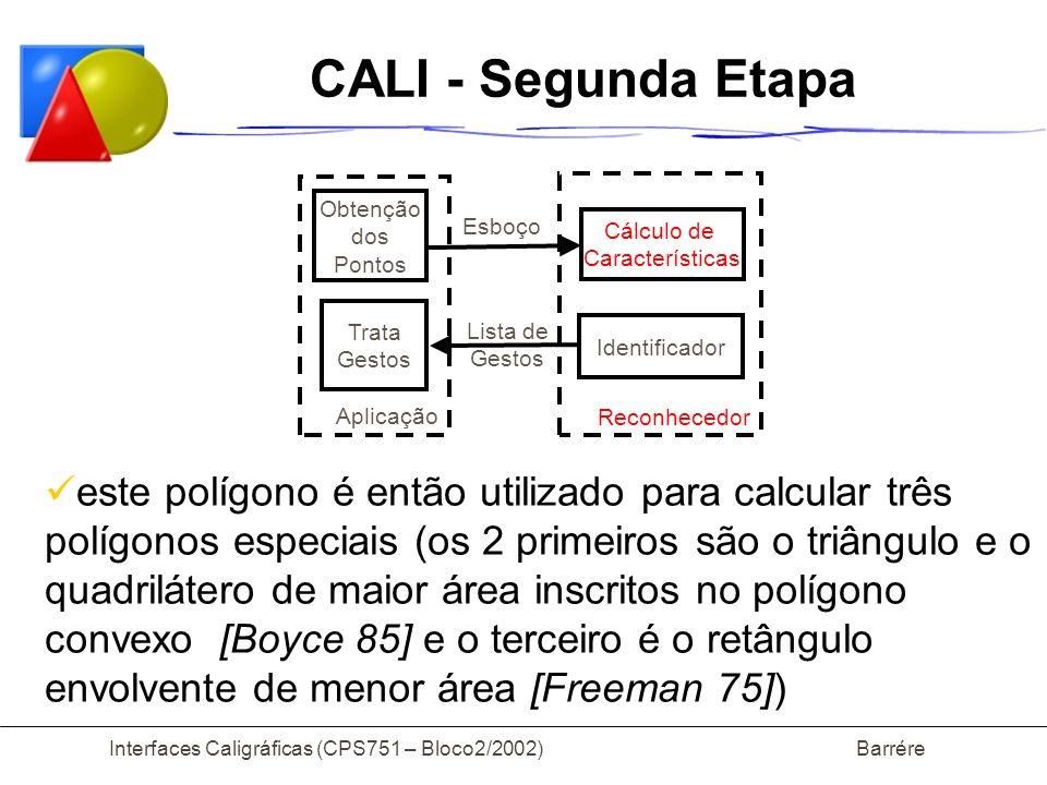 Interfaces Caligráficas (CPS751 – Bloco2/2002) Barrére CALI - Segunda Etapa este polígono é então utilizado para calcular três polígonos especiais (os 2 primeiros são o triângulo e o quadrilátero de maior área inscritos no polígono convexo [Boyce 85] e o terceiro é o retângulo envolvente de menor área [Freeman 75]) Obtenção dos Pontos Cálculo de Características Trata Gestos Identificador Aplicação Reconhecedor Esboço Lista de Gestos