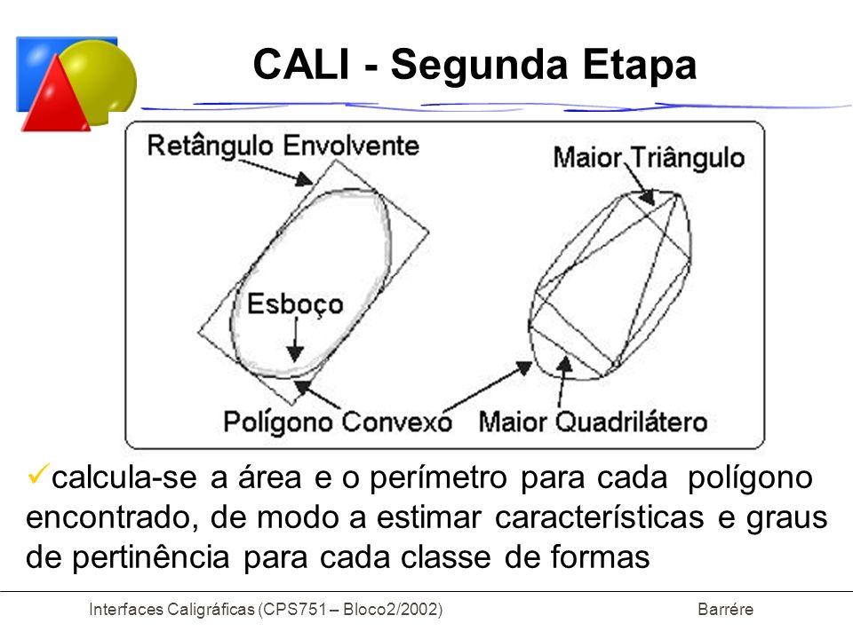 Interfaces Caligráficas (CPS751 – Bloco2/2002) Barrére CALI - Segunda Etapa calcula-se a área e o perímetro para cada polígono encontrado, de modo a estimar características e graus de pertinência para cada classe de formas