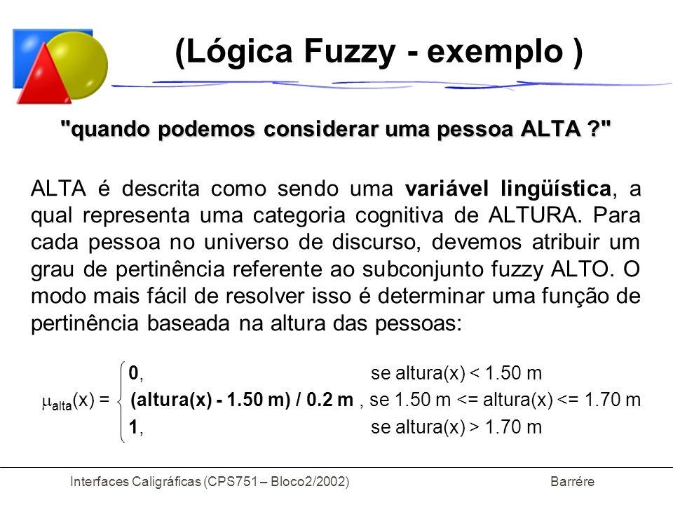 Interfaces Caligráficas (CPS751 – Bloco2/2002) Barrére (Lógica Fuzzy - exemplo )