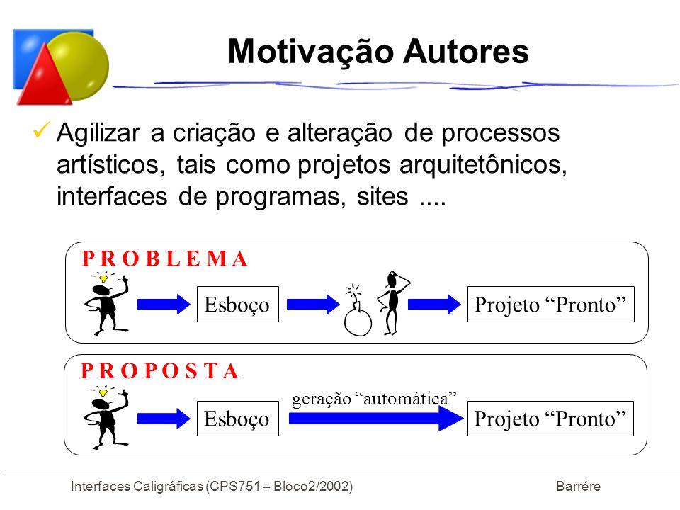 Interfaces Caligráficas (CPS751 – Bloco2/2002) Barrére Motivação Autores Agilizar a criação e alteração de processos artísticos, tais como projetos ar