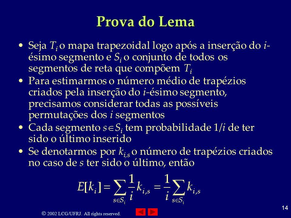 2002 LCG/UFRJ. All rights reserved. 14 Prova do Lema Seja T i o mapa trapezoidal logo após a inserção do i- ésimo segmento e S i o conjunto de todos o