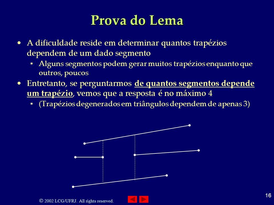 2002 LCG/UFRJ. All rights reserved. 16 Prova do Lema A dificuldade reside em determinar quantos trapézios dependem de um dado segmento Alguns segmento