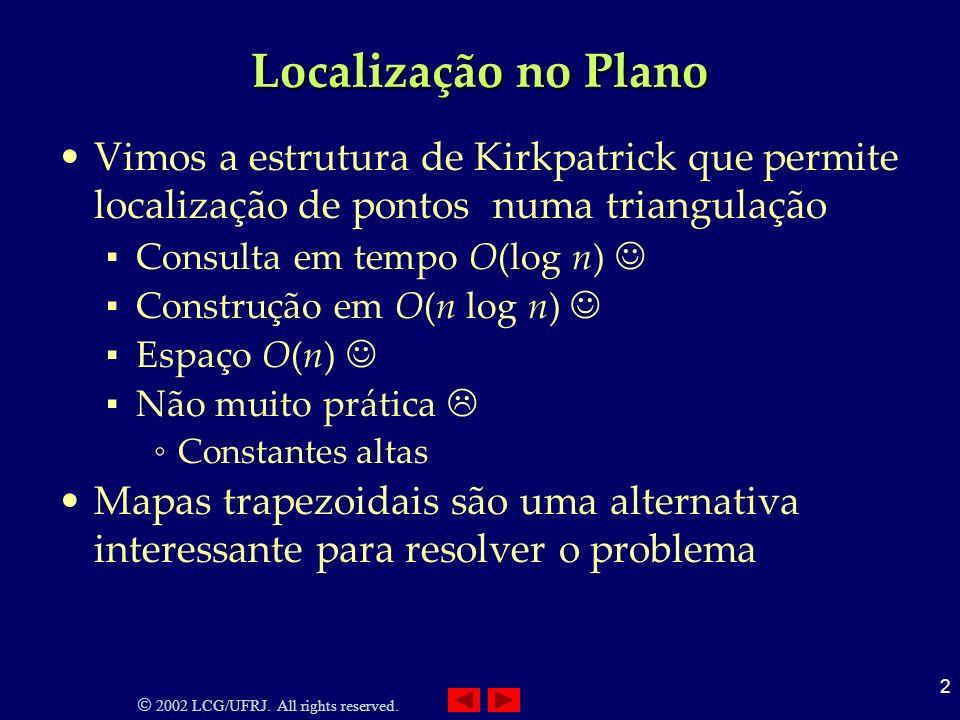 2002 LCG/UFRJ. All rights reserved. 2 Localização no Plano Vimos a estrutura de Kirkpatrick que permite localização de pontos numa triangulação Consul