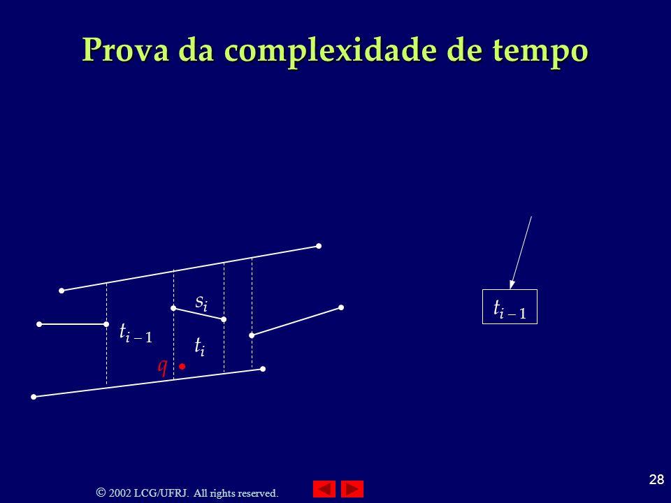 2002 LCG/UFRJ. All rights reserved. 28 Prova da complexidade de tempo t i – 1 titi sisi q