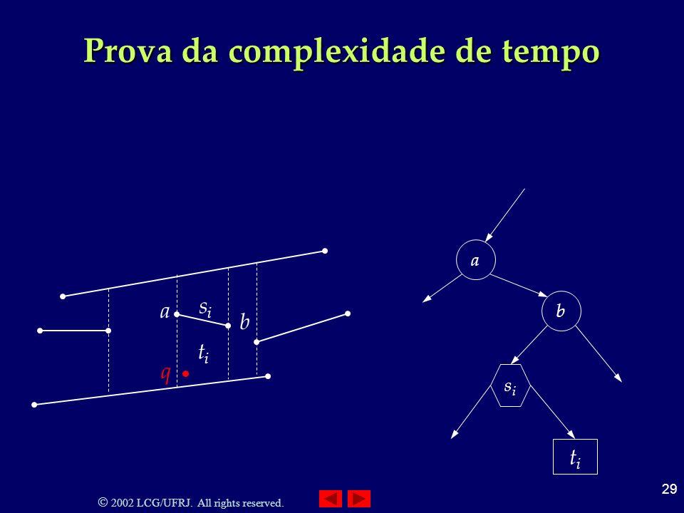 2002 LCG/UFRJ. All rights reserved. 29 Prova da complexidade de tempo titi titi sisi a b q a b sisi