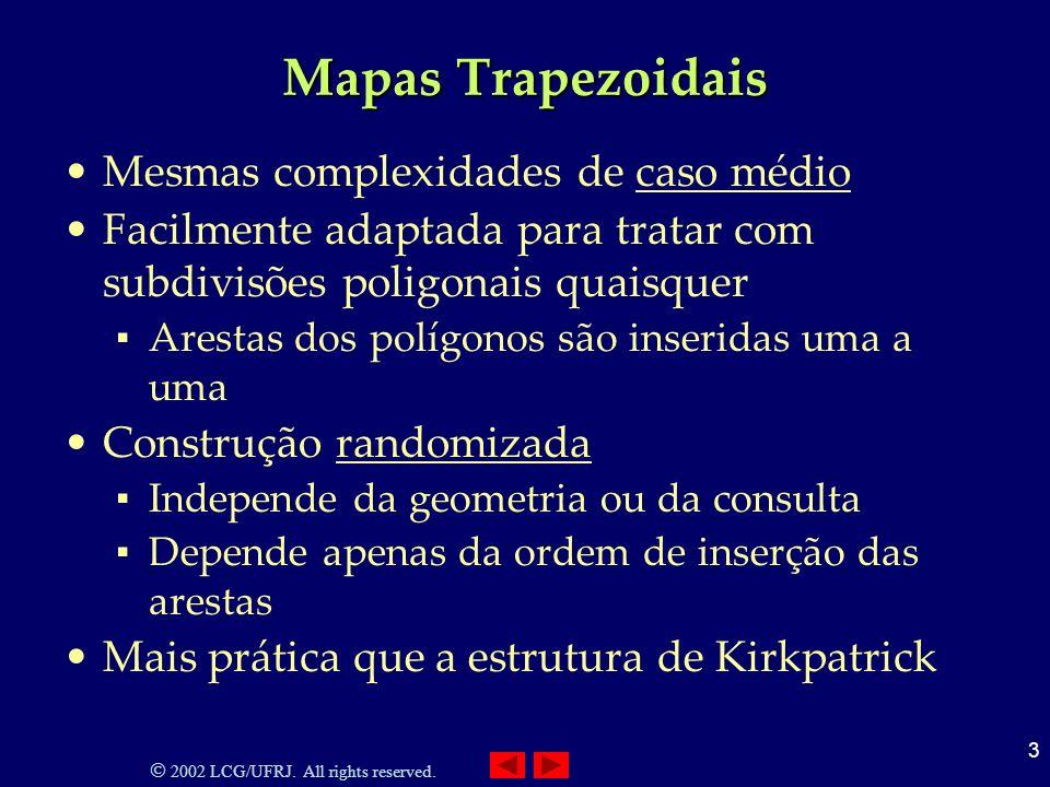 2002 LCG/UFRJ. All rights reserved. 3 Mapas Trapezoidais Mesmas complexidades de caso médio Facilmente adaptada para tratar com subdivisões poligonais